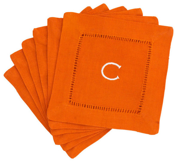 Monogrammed Block Letter Cocktail Napkins - Orange | Wisteria asian-napkins
