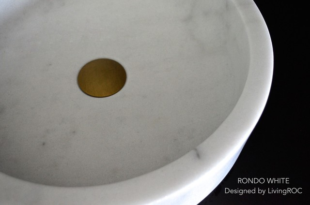 """16"""" ROUND WHITE MARBLE BATHROOM STONE VESSEL SINK - RONDO WHITE modern-bathroom-sinks"""
