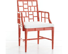 Chinese Chippendale Chair, Poppy Red asian chairs