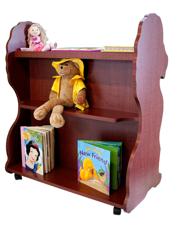 Mobile Baby Bookcase - Mobile Double Sided Bookcase Lion Cherry: This adorable mobile child's bookcase is perfect for to store all your child's favorite books and toys for years to come. The sylish design and wheels on the bottom make the  bookcase chic yet functional enough for any trendy home.