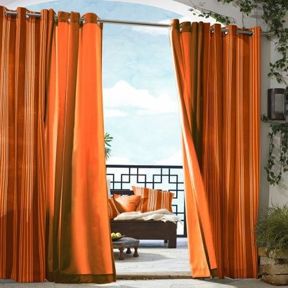 Gazebo Solid Indoor-Outdoor Window Panel, Orange modern curtains