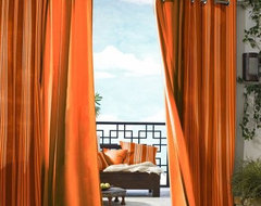 Gazebo Solid Indoor-Outdoor Window Panel, Orange traditional-curtains