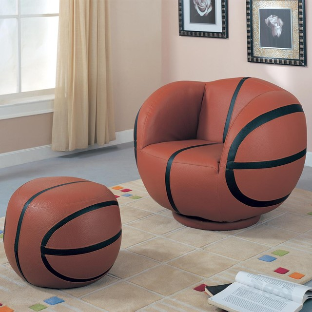 Kids Sports Chairs Large Kids Basketball Chair and Ottoman by Coaster modern-game-room-and-bar-furniture