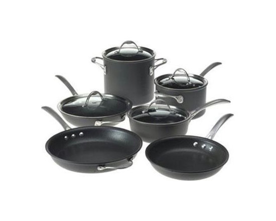 "Epoca - Artistry Cookware Set - Cook well and Do Good with this Ecolution Eco-Friendly 12 Pc. Artistry aluminum Cookware Set. Groovy rings on the bottom of the pans distribute heat evenly for optimum performance. Squeezable silicone handles always keep cool. Non-stick Hydrolon coating is an ecologically advanced water based coating that is made without PFOA for fewer greenhouse gases. glass lids let you see what's cooking without letting heat escape. Dishwasher Safe. Set includes: 8"" Fry Pan, 9.5"" Fry Pan, 11"" Fry Pan, 1 Qt. Saucepan with glass Lid, 2 Qt. Saucepan with glass Lid, 5 Qt. Dutch Oven with glass Lid, Collapsible Silicone Steamer, Bamboo Spoon and Bamboo Spatula. Packaging printed on 70% recycled materials."