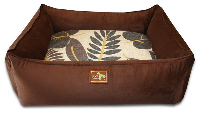 Small Chocolate Lounge Bed, Falling Leaves traditional-pet-supplies