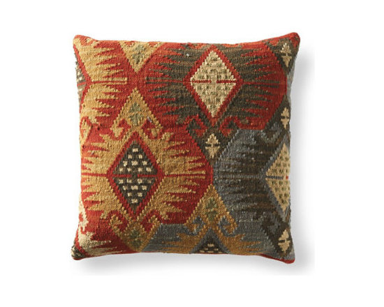 Grandin Road - Izmir Kilim Throw Pillow - Kilim toss pillows in your choice of size and pattern. Minimally processed wool provides an authentic, rustic texture to the cover – learn more. Plump polyester fill. Durable cotton backing. Zippered closure. Fill your home with the timeless patterns, colors, and textures of our authentic Kilim Throw Pillows. When it comes to bringing an artful touch to chairs, benches, and sofas, simply nothing else compares. Covers are masterfully artisan-crafted on traditional kilim looms, making each pillow a one-of-a-kind creation. Group multiple designs for an even more dramatic impact. . . .  . . Dry clean . Pillow inserts are vacuum packed to minimize shipping costs – simply fluff to restore shape . Imported.
