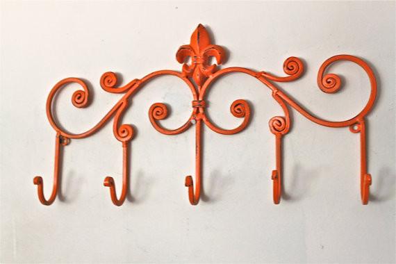 Iron Wall Hook Bright Orange By Aqua Xpressions