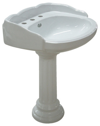 Wall Mount Pedestal Sink : White China Wall Mount Pedestal Bathroom Sink with 8in. Center ...