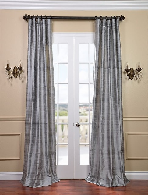 silver bell textured dupioni silk curtain traditional