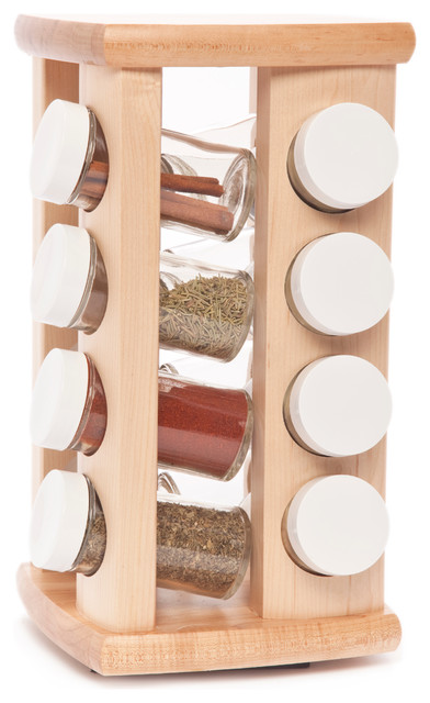 Carousel spice rack 16 bottles contemporary food for Carousel spice racks for kitchen cabinets