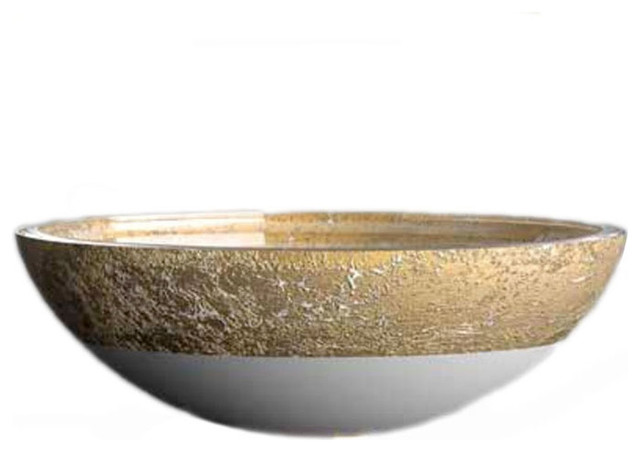 Flare T40WG Vessel Sink in White/Gold Leaf 17.3 ...
