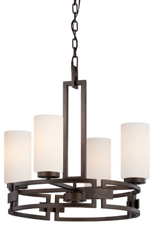 Del Ray Flemish Bronze Four-Light Chandelier with White Opal Glass traditional-chandeliers