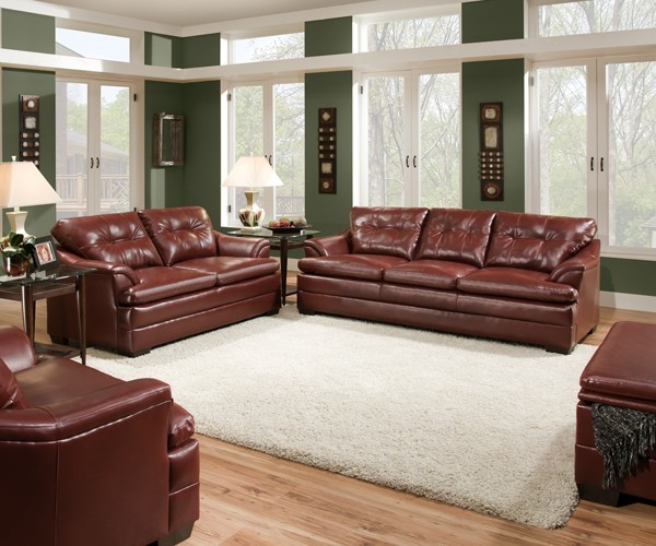 Simmons Upholstery Geronimo Bonded Leather Sofa And Loveseat Set In Crimson Contemporary