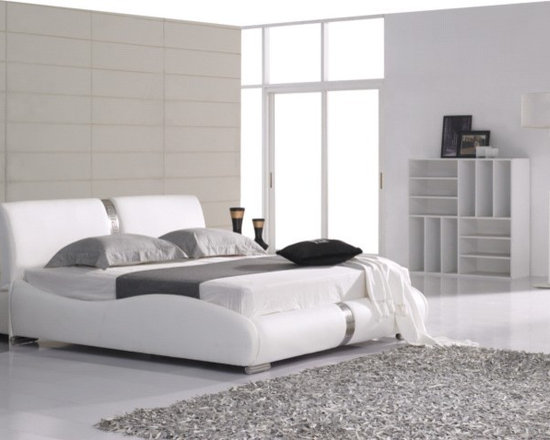 Amelia Bed Frame - Beautiful contemporary design with ornate stainless inlay in genuine leather headboard.