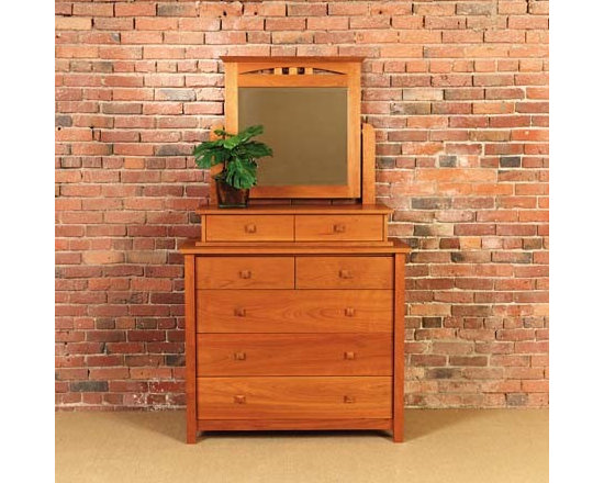 """MISSION 4 DRAWER VERTICAL DRESSER WITH VANITY MIRROR - The goal of the Arts and Crafts movement at the turn of the 20th century was to """"unclutter"""" the minds of people who had been exposed to the ornate style of Victorian design. Our Mission line accomplishes that and more, by creating a simplicity and balance of mass and space that rebels against the over-decorated. The beveled top of the bed's four posts adds to a design that's perfect for a lakeside cottage or a downtown loft."""