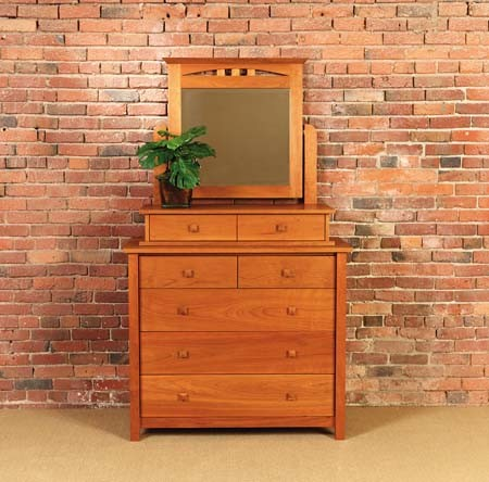 MISSION 4 DRAWER VERTICAL DRESSER WITH VANITY MIRROR traditional-dressers-chests-and-bedroom-armoires