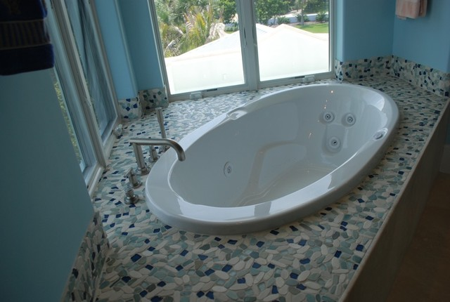 Sea Glass Blend pebble stone and glass tile tropical-home-decor