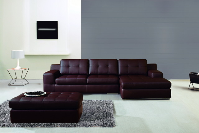 Conremporary burgundy bonded leather sectional sofa set for Burgundy leather chaise