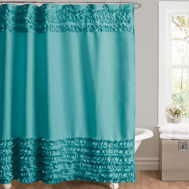 Lush Decor Skye Turquoise Shower Curtain Contemporary Shower Curtains B