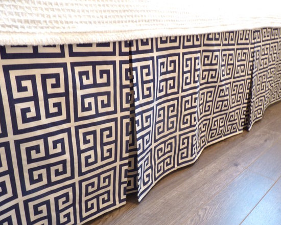 Home Decor Products - Twin box-pleat bed-skirt in navy and natural Twin Towers.  %100 sturdy cotton.  Custom drop available.