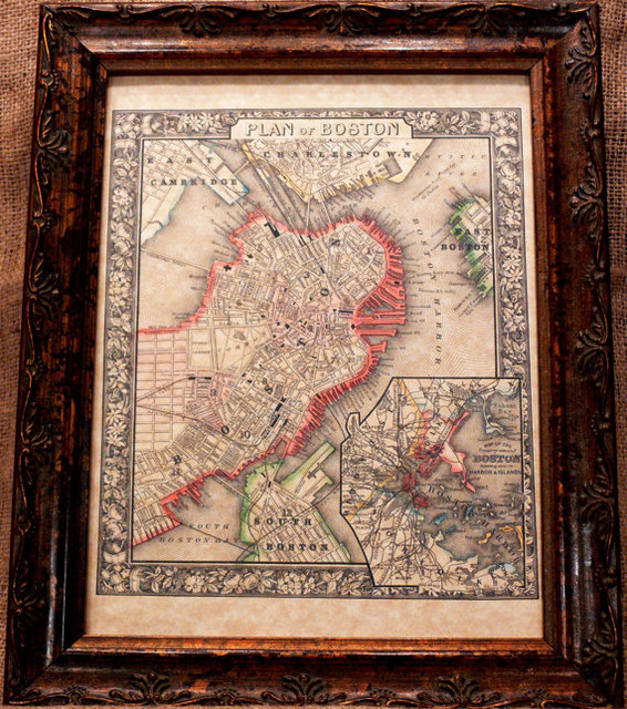 City of Boston Map Print of an 1866 Map on Parchment Paper by A Page in Time traditional-prints-and-posters