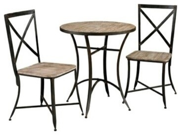 black metal and wood table and 2 side chairs contemporary dining sets