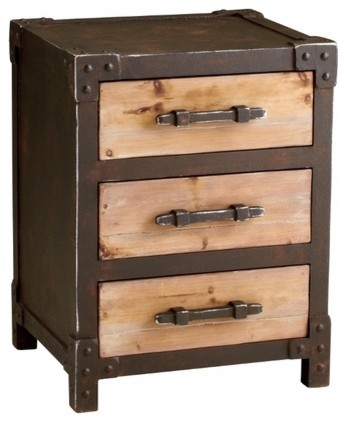 Rustic Iron and Wood 3 Drawer Storage End Table transitional-side-tables-and-end-tables