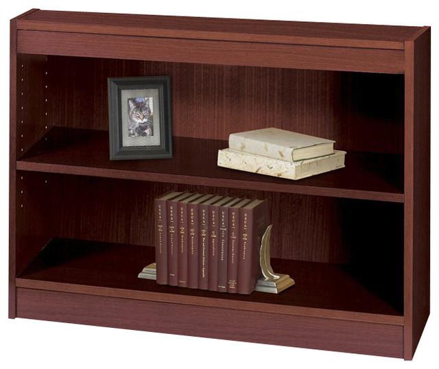 Safco WorkSpace 2-Shelf Square-Edge Veneer Bookcase in Mahogany contemporary-bookcases