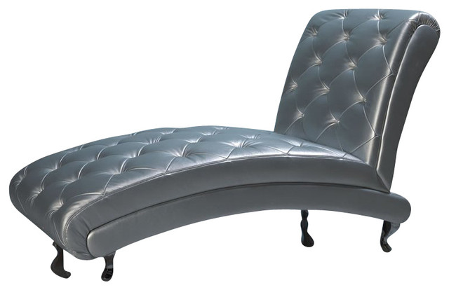 Dupen Lorena Chaise Lounge in Silver contemporary-indoor-chaise-lounge-chairs