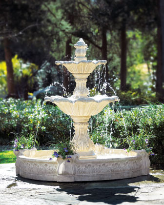 Tiered Seashell Fountain traditional-outdoor-fountains