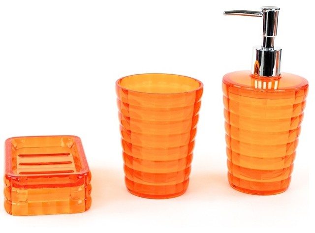 Orange 3 Piece Accessory Set In Thermoplastic Resins Contemporary Bathroom Accessories By
