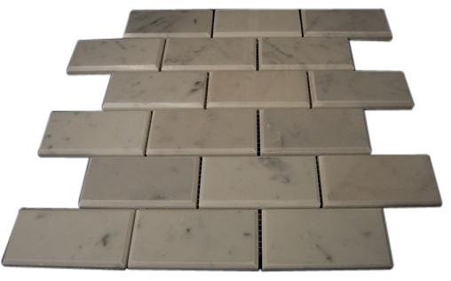 White Carrera Beveled 2x4 Marble Tile Tile contemporary-tile