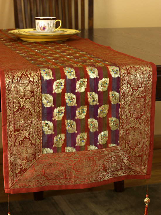 """Elegant Table Runners - Beautiful """"Luxurious Satin Table Runner"""" in silk with adorable hand embroidered leaves shapes. Made in India. Orange Gold"""
