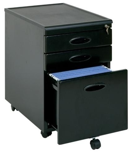 3 Drawer Mobile File Cabinet (Silver) contemporary-filing-cabinets-and-carts