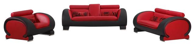 2811 Two-Tone Red & Black Bonded Leather 3 Piece Sofa Set modern-sofas