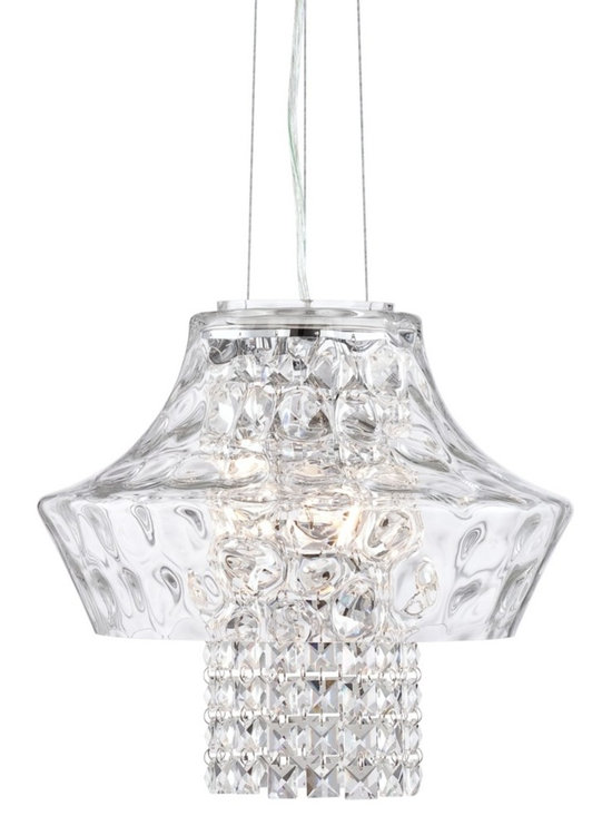 """Possini Euro Design - Carrasco Crystal 14 1/2"""" Wide Hammered Glass Chandelier - Add a touch of style to dining rooms entry halls and more with the Carrasco chandelier. From the Possini Euro Design collection the sparkling design features an inner column of hanging crystal strands surrounded by a clear crystal hammered glass diffuser. Three halogen bulbs illuminate the chandelier from within. With a chrome finish canopy and accents. Includes three 40 watt G9 bulbs. 14 1/2"""" wide.  Carrasco crystal chandelier.  Hammered clear glass.  Clear square crystal strands.  Chrome finish canopy and accents.  By Possini Euro Design.  Includes three 40 watt G9 halogen bulbs.  Measures 14 1/2"""" wide 12 1/2"""" high.   Includes 11 feet of cord.  Canopy is 4 1/2"""" round.  Hanging weight is 9.3 lbs."""