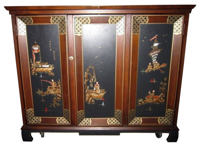Used Chinosierie Liquor Locking Cabinet - Asian - Wine And Bar Cabinets - by Chairish