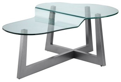 Stein World Rimini Oval Silver Wood and Glass Coffee Table