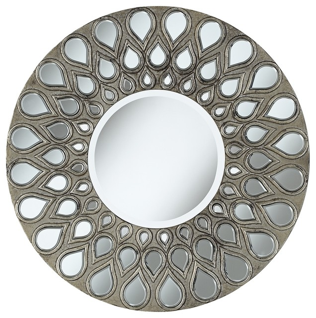Accent silver teardrop 32 round wall mirror for Round silver wall mirror
