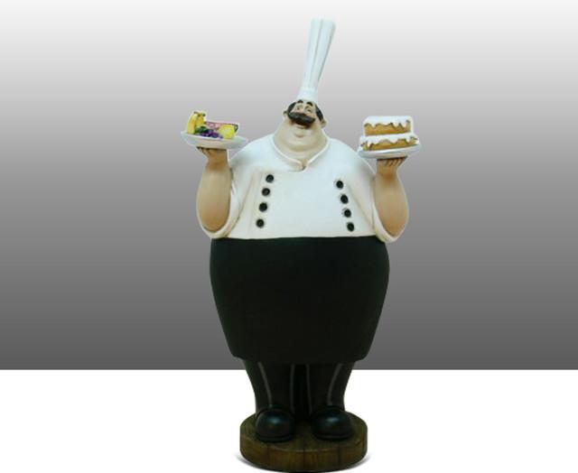 Fat Chef Kitchen Statue Chalkboard Figure Table Art Decor traditional ...