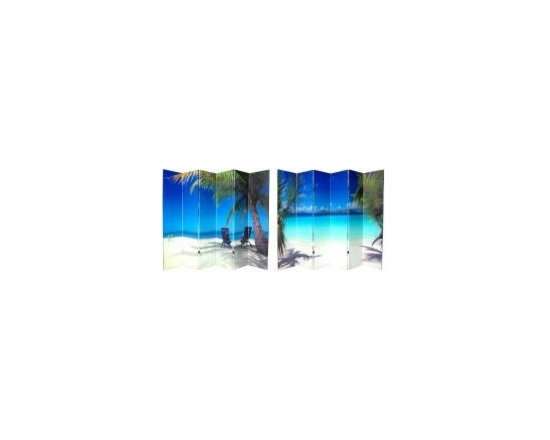 Functional Art/Photography Printed on a 6ft Folding Screen - 6ft tall double sided photo of beach and palm palm trees in 6 panels