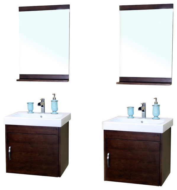 Double Wall Mount Sink : 48.8 Inch Double Wall Mount Style Sink Vanity-Wood-Walnut - Modern ...