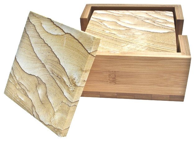Thirstystone natural sandstone drink coasters set contemporary coasters by - Sandstone drink coasters ...