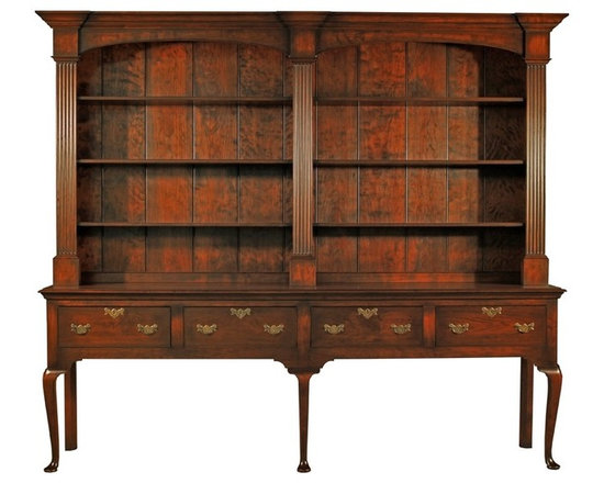 Eco Friendly Furnture and Lighting - Wilton Welsh Dresser.The massive nature of this piece gives it a commanding presence. Made from native Cherry selected for figure and width. Built in the English Queen Anne style it features fluted pilasters over a five legged server with cock beaded drawers on cabriole legs. It is 100 % handmade in New Hampshire and it is finished with water base stain and low VOC coatings.
