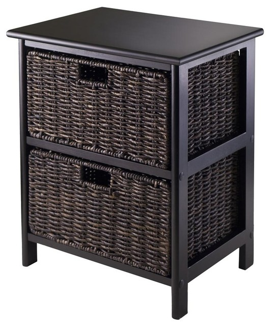 Storage Rack with 2 Foldable Baskets Contemporary