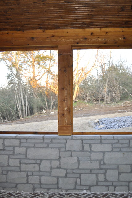 Half Wall Covered Porch Using Stone Cedar Traditional