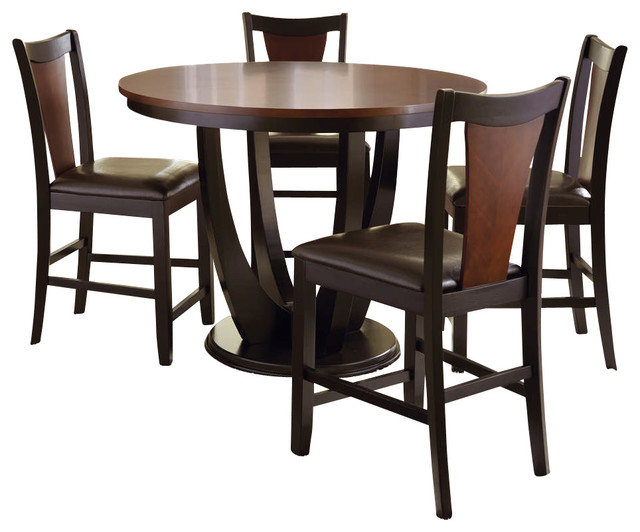Steve Silver Oakton 5 Piece 48 Inch Round Counter Height Set transitional-dining-sets