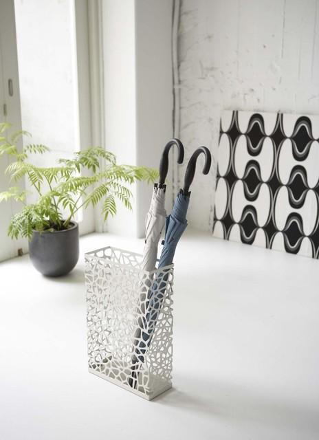 Nest - White Metal Rectangular Umbrella Stand, Modern Home Decor modern-coatracks-and-umbrella-stands