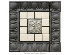 Fine Art Tileworks — 3 Oak Leaves deco in center traditional kitchen tile
