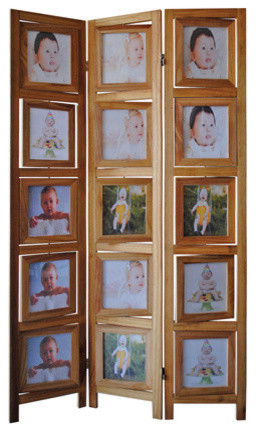 3 panel double sided natural finish wood photo frame room - Room divider picture frames ...